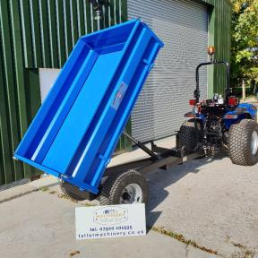 Solis 26 Compact Tractor on Wide Grass Tyres with 1.5 tonne hydraulic tipping trailer by Oxdale