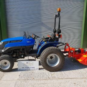 Solis 26 Compact Tractor on Wide Grass Tyres with 1.58m Del Morino Flail Mower  Wiltshire
