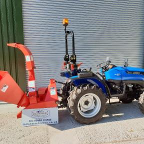 Solis 26 Compact Tractor on Super Agri Tyres with PTO Wood Chipper Wiltshire