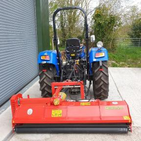 Solis 50 2wd Tractor on Agri Tyres with 2.14m Heavy Duty Flail Mower with Hydraulic side shift by Del Morino Wiltshire