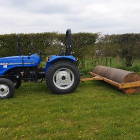 Solis 50 2wd Tractor on Turf Tyres with Heavy Duty 2.5m Roller