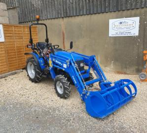 Used Solis 26 4wd Compact Tractor with Front Loader & Bucket Grab for Sale in Dorset